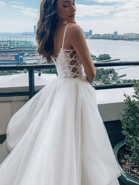 V Neck White Lace Wedding Dresses, White Lace Bridal Dresses Prom Dresses