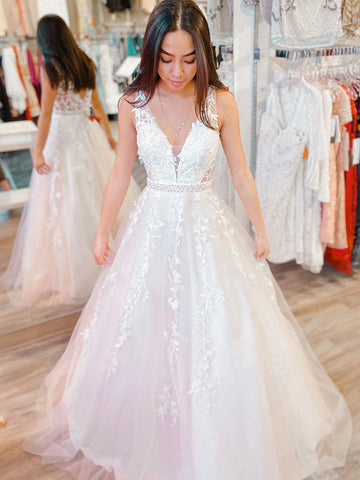 V Neck White Lace Wedding Dresses, White Lace Formal Prom Dresses