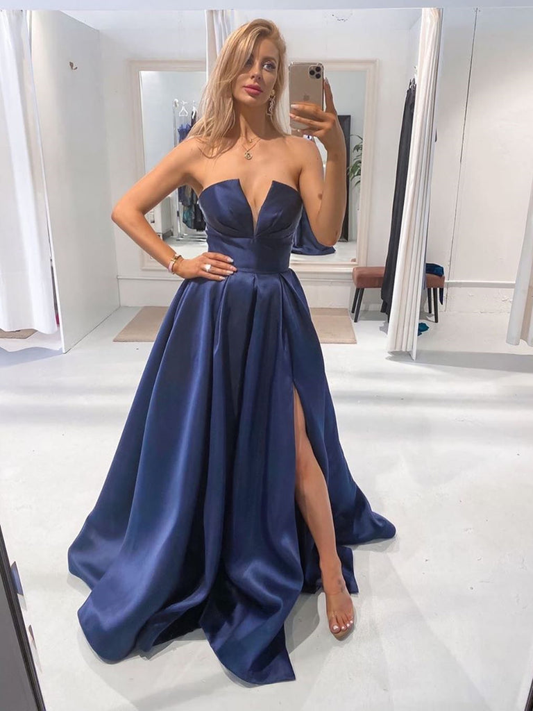 V Necl Blue Satin Long Prom Dresses, V Neck Blue Satin Long Formal Evening Dresses