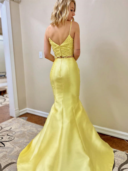 V Neck 2 Pieces Mermaid Yellow Lace Prom Dresses, Two Pieces Mermaid Yellow Lace Fomral Evening Dresses
