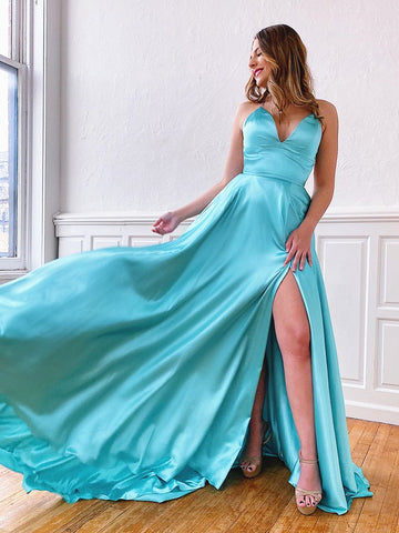 V Neck Aqua Backless Long Prom Dresses, Aqua Backless Long Formal Evening Graduation Dresses
