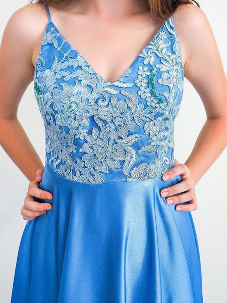 V Neck Backless Blue Prom Dresses, Open Back Blue Lace Formal Evening Dresses