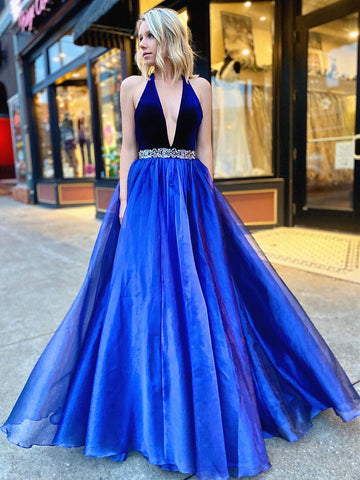V Neck Backless Blue Prom Dresses, Open Back Blue V Neck Formal Evening Dresses