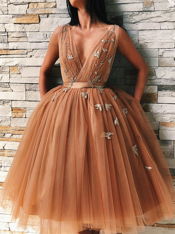 V Neck Backless Floral Champagne Prom Gown, Short Champagne Prom Dresses Graduation Evening Dresses