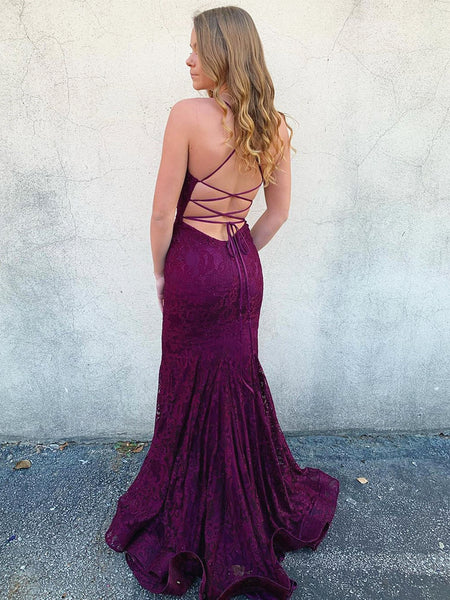 V Neck Backless Mermaid Purple Lace Prom Dresses, Backless Purple Lace Mermaid Formal Evening Dresses