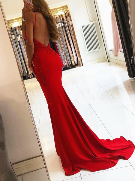 V Neck Backless Mermaid Red Lace Prom Dresses, Red Mermaid Lace Formal Evening Dresses