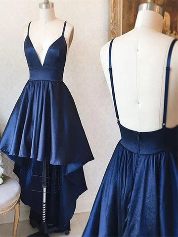 V Neck Backless Navy Blue/Pink High Low Prom Dresses, Backless High Low Formal Graduation Dresses