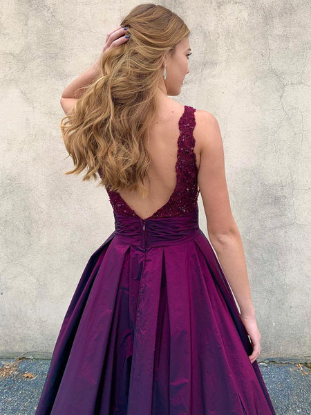 V Neck Backless Purple Lace Prom Dresses, V Neck Open Back Purple Lace Formal Evening Dresses