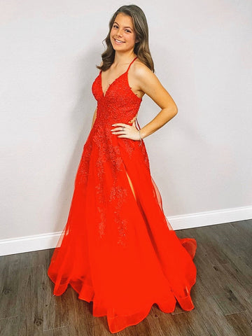 V Neck Backless Red Lace Prom Dresses, Red V Neck Backless Lace Formal Evening Dresses