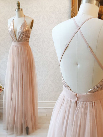 V Neck Backless Rose Gold Prom Dresses, Open Back Rose Gold Formal Bridesmaid Dresses
