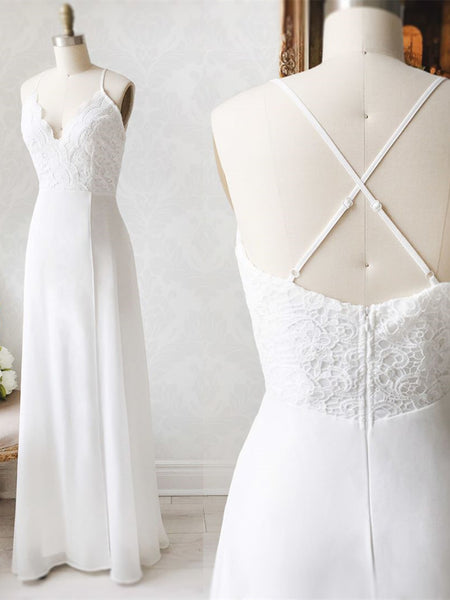 V Neck Backless White Lace Prom Dresses, Open Back White Lace Wedding Bridesmaid Dresses