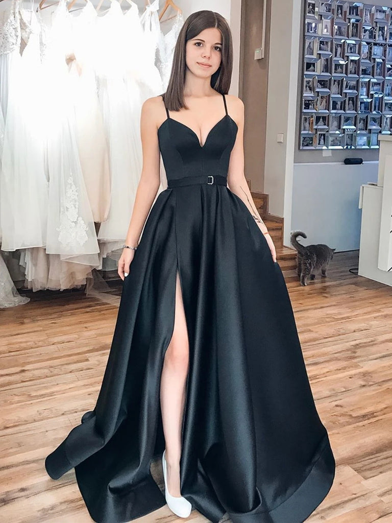 V Neck Black Satin Prom Dresses, Black Long Formal Evening Graduation Dresses