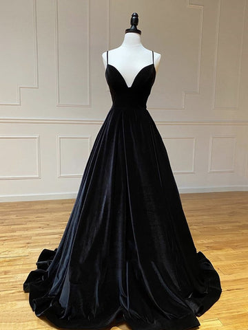 V Neck Black Velvet Long Prom Dresses, Black V Neck Long Formal Evening Graduation Dresses