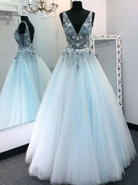 V Neck Blue Lace Floral Long Prom Dresses, Backless Long Blue Lace Formal Evening Dresses