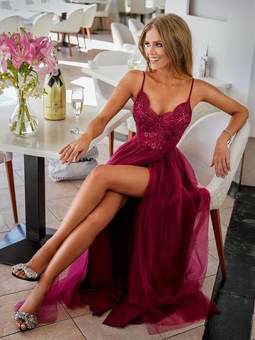 V Neck Burgundy Lace Prom Dresses, Wine Red Lace Formal Graduation Bridesmaid Dresses