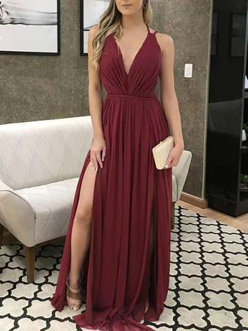 V Neck Burgundy Long Prom Dresses, Wine Red Long Formal Bridesmaid Dresses