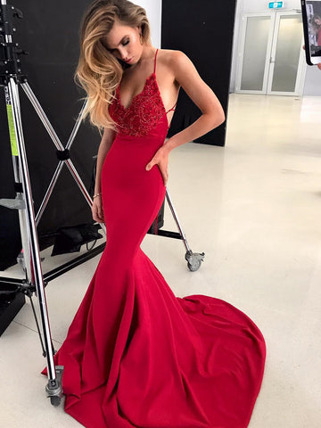 V Neck Burgundy Mermaid Lace Prom Dresses, Wine Red Mermaid Lace Formal Evening Dresses