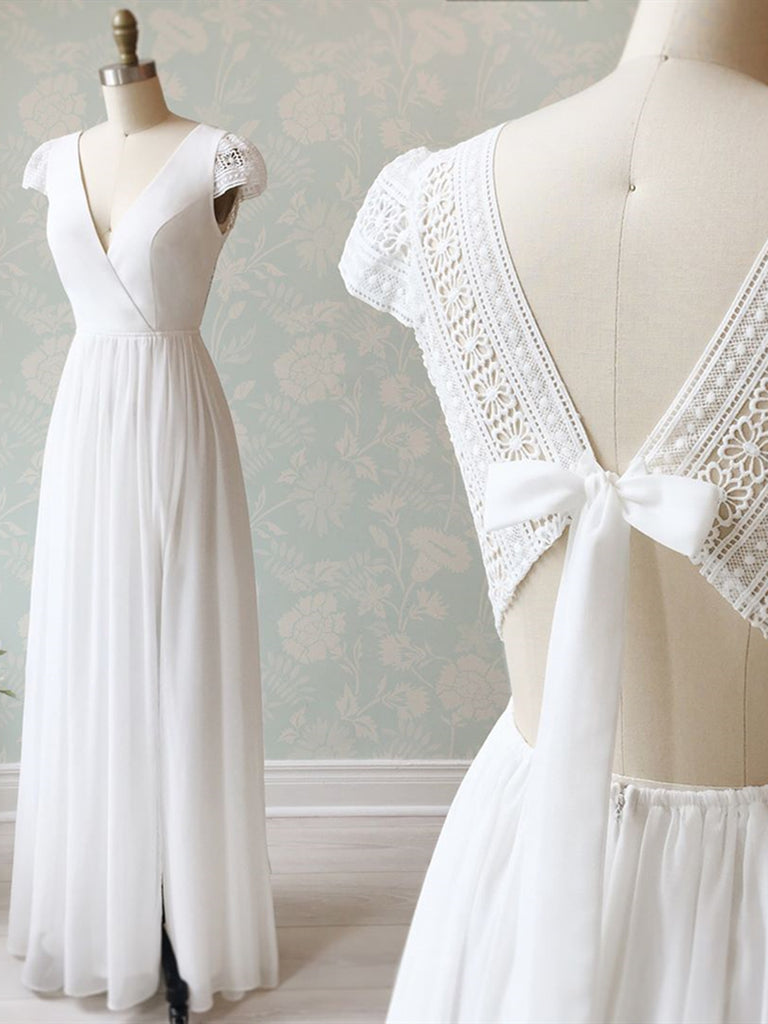 V Neck Cap Sleeves White Long Lace Prom Dresses, Cap Sleeves White Lace Wedding Formal Evening Dresses