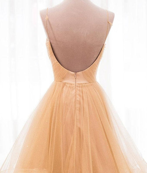 V Neck Champagne Backless Wedding Dresses, Champagne Backless Prom Dresses, Formal Dresses