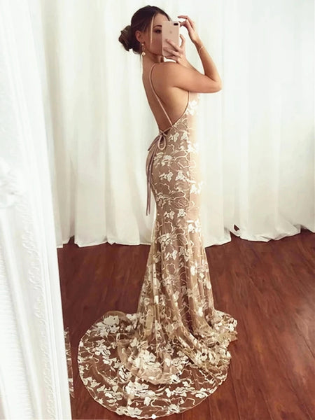 V Neck Champagne Lace Mermaid Prom Dresses, Backless Champagne Lace Formal Evening Dresses