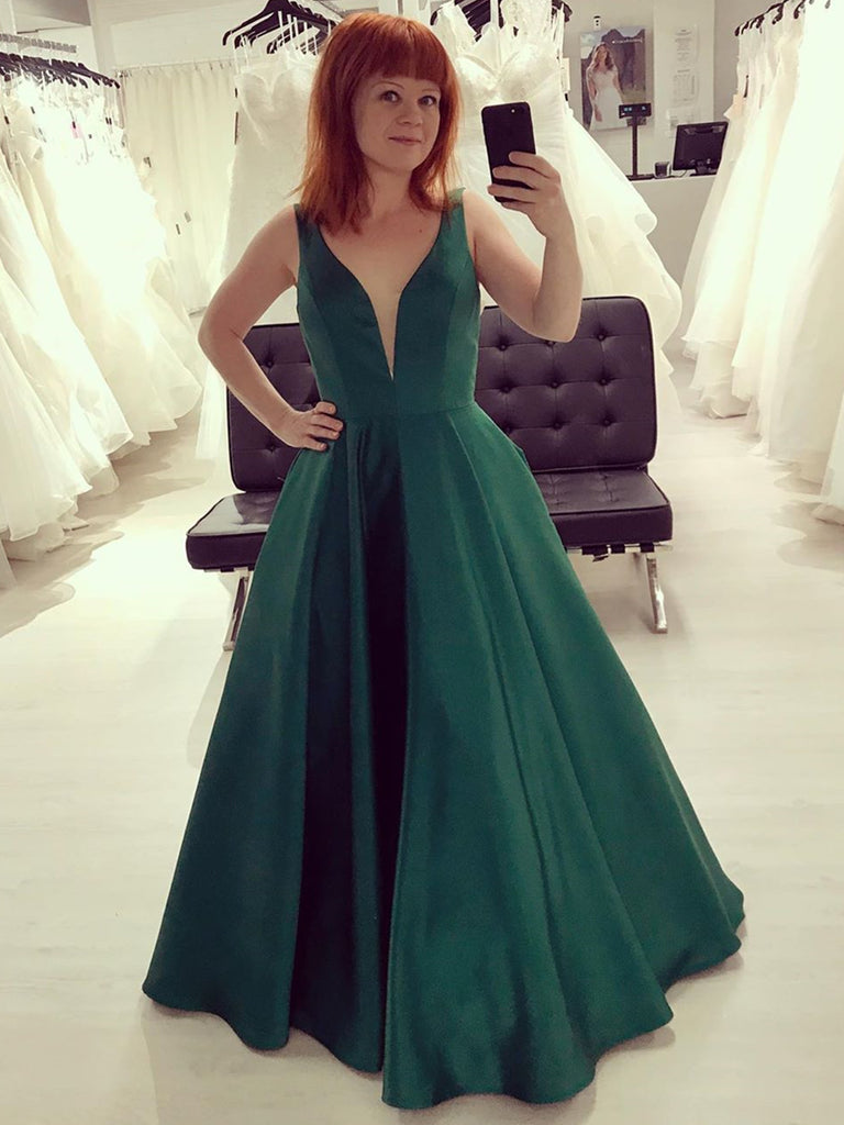 V Neck Emerald Green Satin Prom Dresses, Emerald Green Satin Formal Evening Dresses