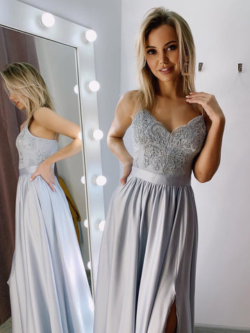 V Neck Gray/Red/Burgundy Long Lace Prom Dresses, Long Lace Formal Graduation Evening Dresses