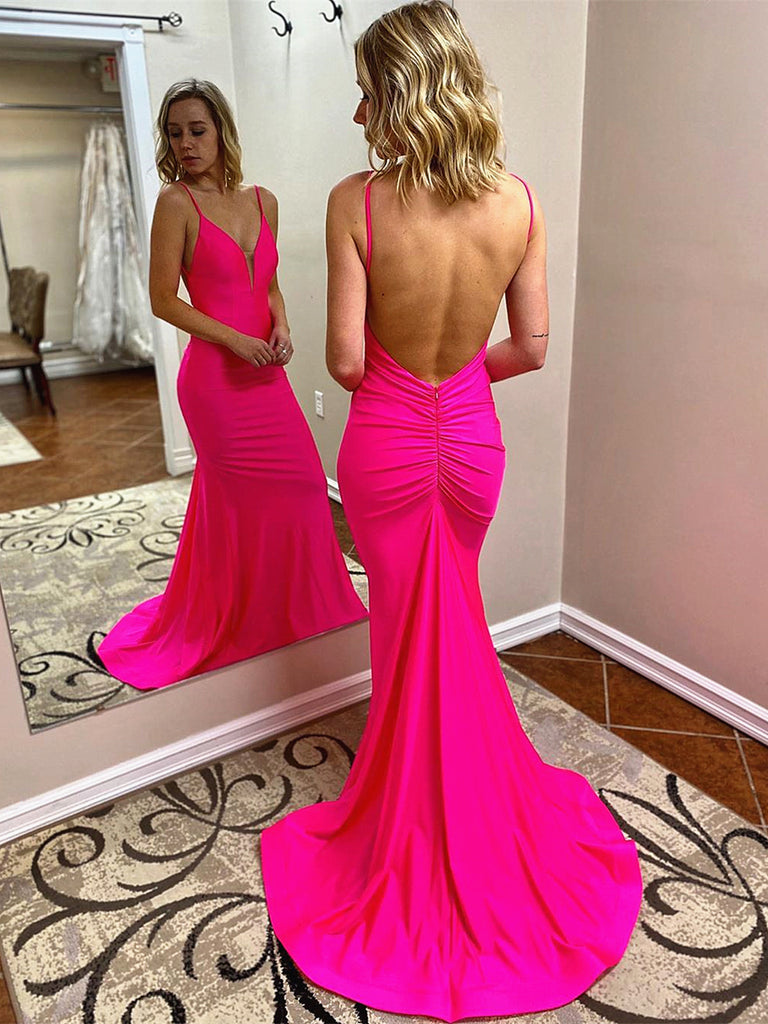 V Neck Hot Pink Mermaid Long Prom Dresses, Hot Pink Mermaid Formal Evening Dresses
