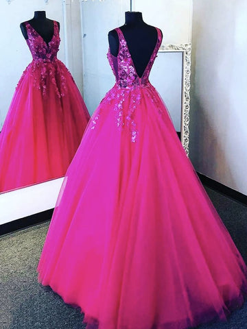 V Neck Hot Pink Tulle Lace Prom Dresses, Backless Hot Pink Floral Formal Evening Dresses