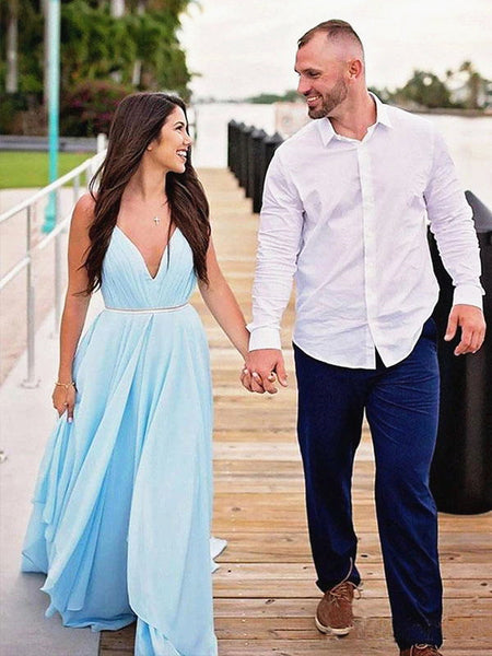 V Neck Light Blue Backless Prom Dresses, Light Blue Long Formal Bridesmaid Evening Dresses