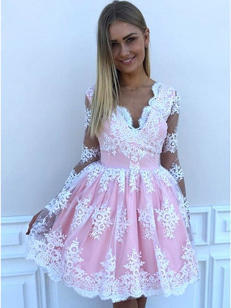 V Neck Long Sleeves Short Pink Prom Dresses with White Lace, Short Lace Formal Homecoming Graduation Dresses