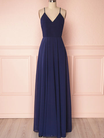 V Neck Navy Blue Backless Prom Dresses Long, Navy Blue Backless Bridesmaid Formal Evening Dresses