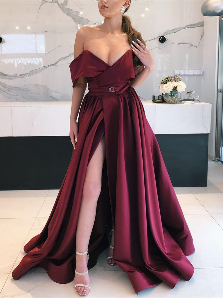 V Neck Off Shoulder Burgundy Long Prom Dress with Leg Slit, Burgundy Off the Shoulder Formal Evening Dresses Long