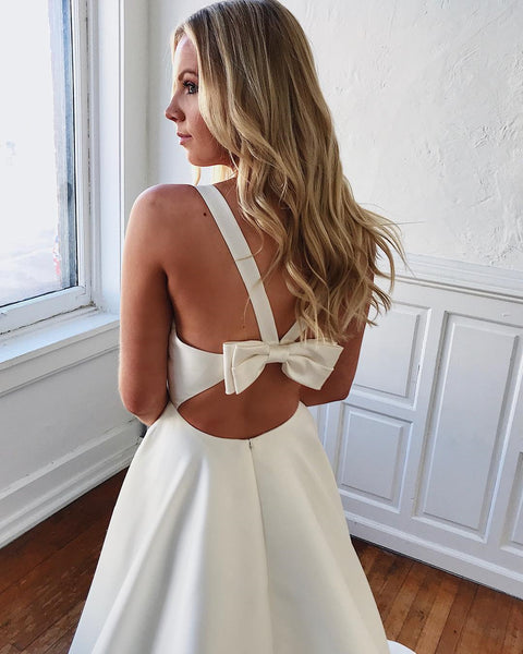 V Neck Open Back White Wedding Dresses, Wedding Gowns, White V Neck Prom Dresses Long