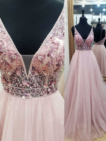 V Neck Pink Beaded Tulle Prom Dresses, Pink Backless V Neck Formal Evening Dresses