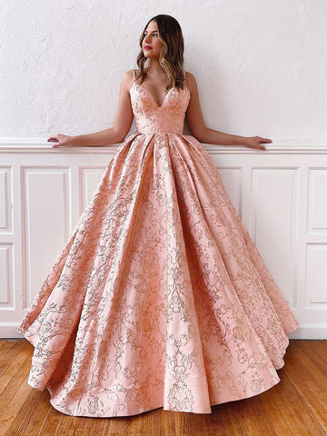 V Neck Pink Lace Prom Gown with Corset Back, Pink Lace Corset Back Prom Formal Evening Dresses