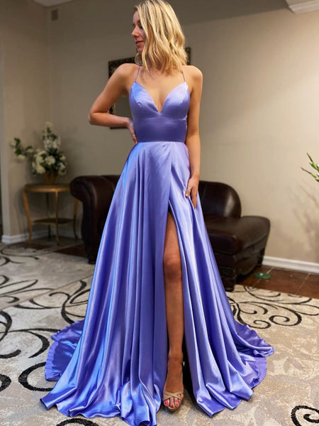 V Neck Purple Backless Long Prom Dresses, Open Back Purple Long Formal Evening Dresses