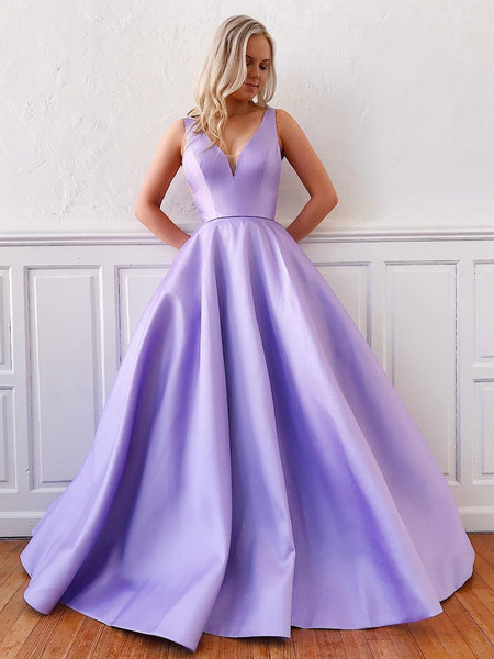 V Neck Purple Long Satin Prom Dresses, Purple V Neck Formal Evening Dresses