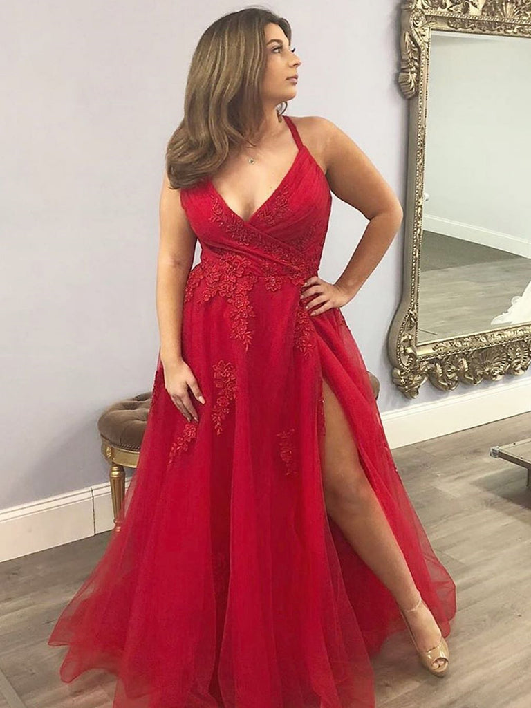 V Neck Red Lace Prom Dresses, Red Lace Formal Evening Dresses