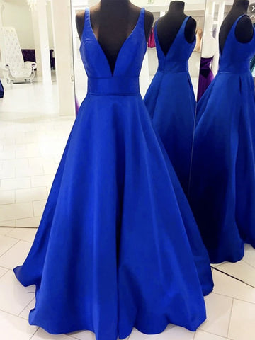 V Neck Royal Blue Satin Prom Dresses, Royal Blue Satin Formal Evening Bridesmaid Dresses