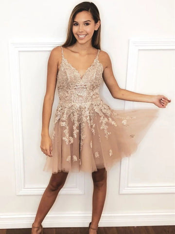 V Neck Short Champagne Lace Prom Dresses, Short Champagne Lace Formal Homecoming Dresses