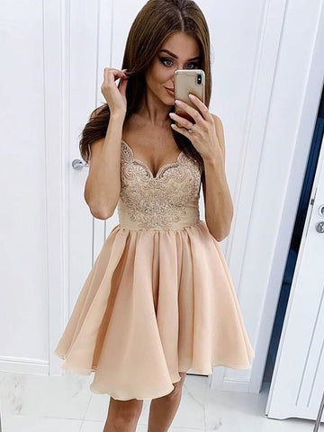 V Neck Short Champagne Lace Prom Dresses, Short V Neck Champagne Lace Formal Homecoming Dresses