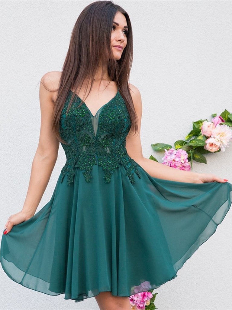 V Neck Short Green Lace Prom Dresses, Short Green Lace Formal Homecoming Graduation Dresses