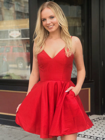 V Neck Short Red Prom Dresses, V Neck Short Red Homecoming Graduation Dresses