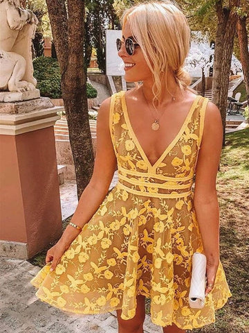 V Neck Short Yellow Lace Prom Dresses, Short Yellow Lace Formal Homecoming Dresses