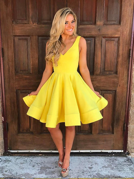 V Neck Short Yellow Prom Dresses, Short V Neck Yellow Graduation Formal Homecoming Dresses