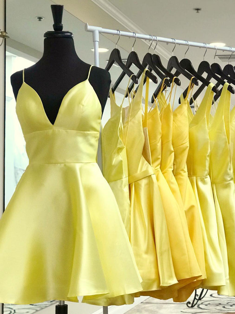 V Neck Short Yellow Prom Dresses, Short V Neck Yellow Graduation Homecoming Dresses