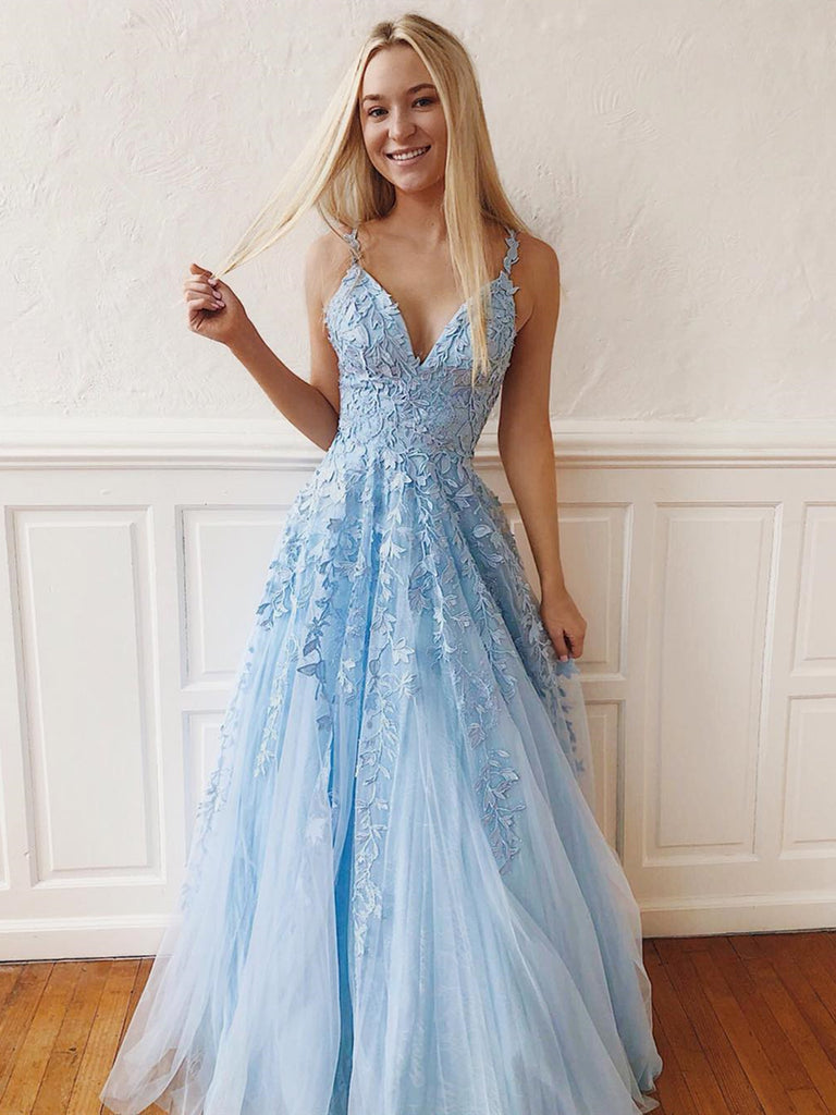 V Neck Sky Blue Lace Prom Dresses Long, Blue Long Lace Bridesmaid Dresses, Formal Evening Dresses