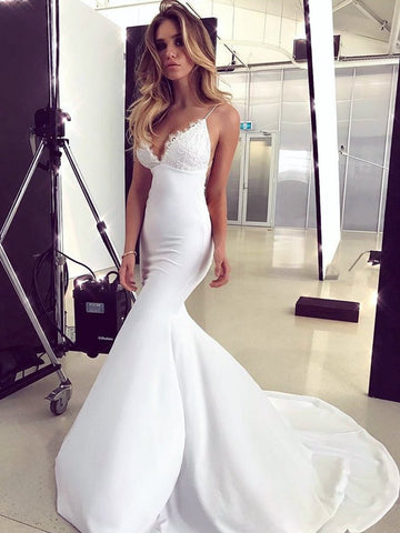 V Neck White Lace Mermaid Prom Dresses, White Mermaid Lace Formal Bridesmaid Dresses