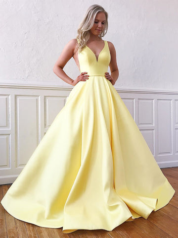 V Neck Yellow Satin Prom Dresses, V Neck Yellow Formal Evening Graduation Dresses