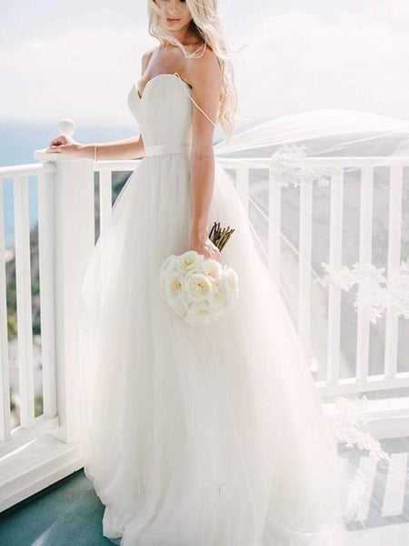 A Line Sweetheart Neck  Ivory Wedding Dress with Sash, Sweetheart Neck Formal Dresses